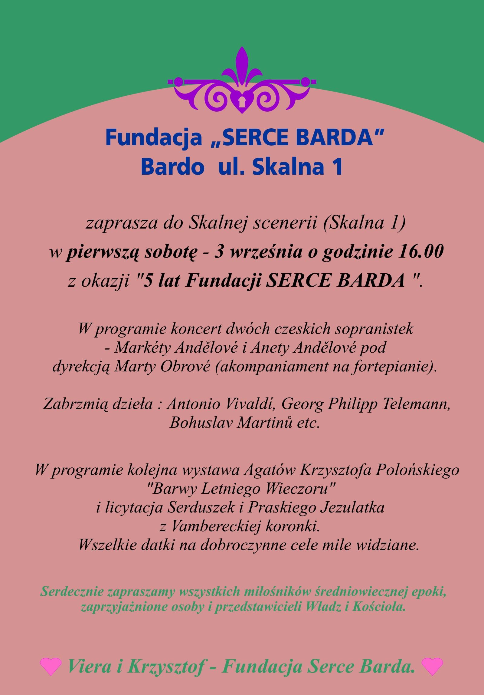 5 lat Fundacji Serce Barda - zaproszenie