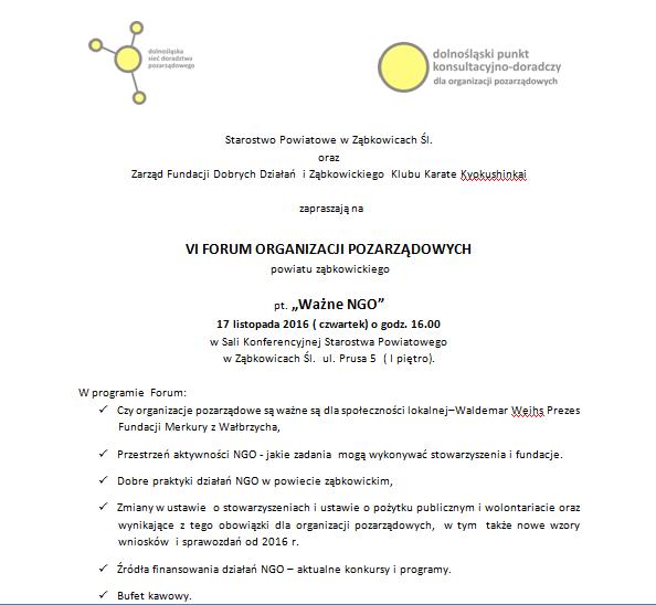 NGO - zaproszenie na Forum Organizacji Pozarządowych