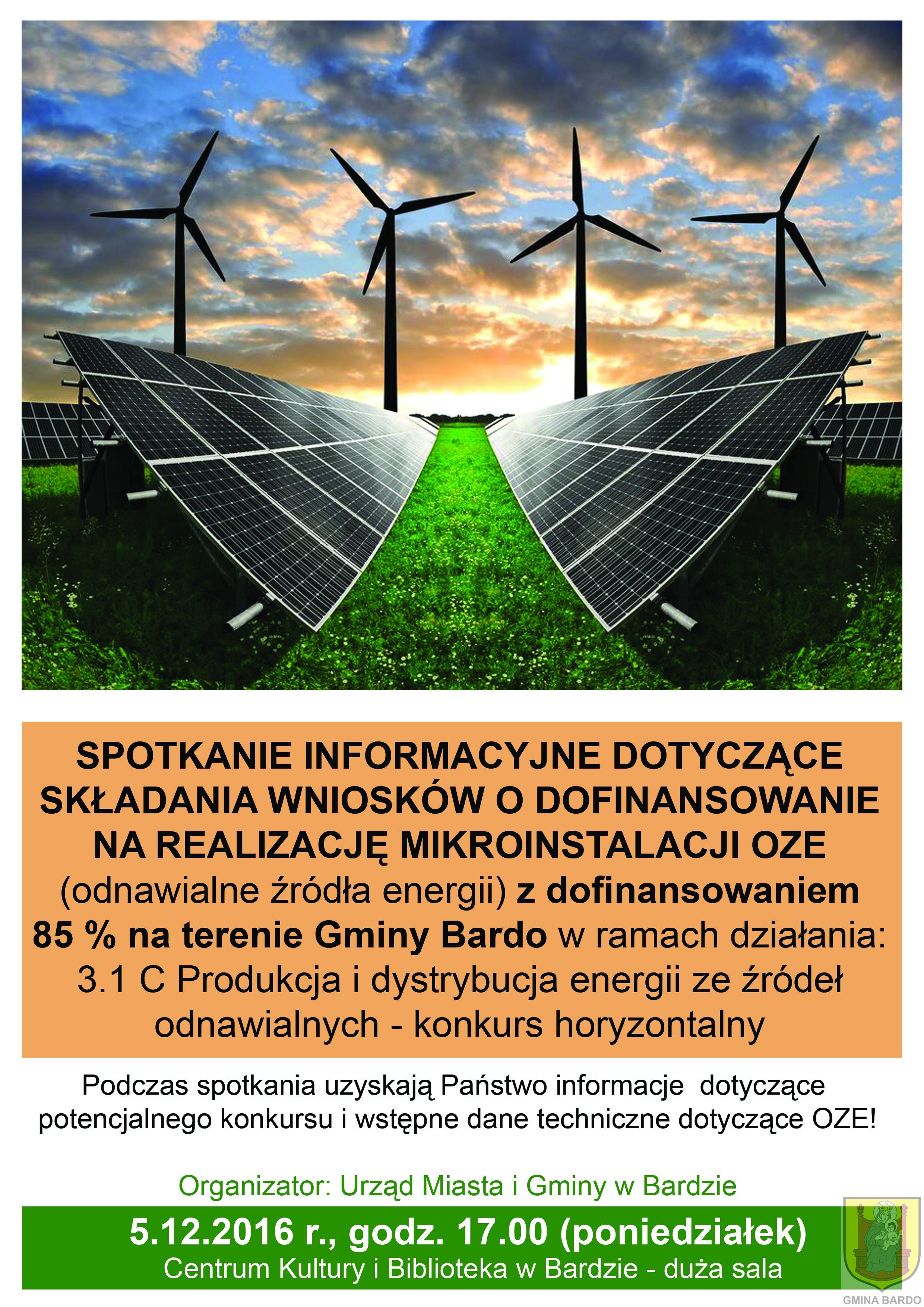 Zaproszenie na spotkanie o dofinansowanie instalacji OZE