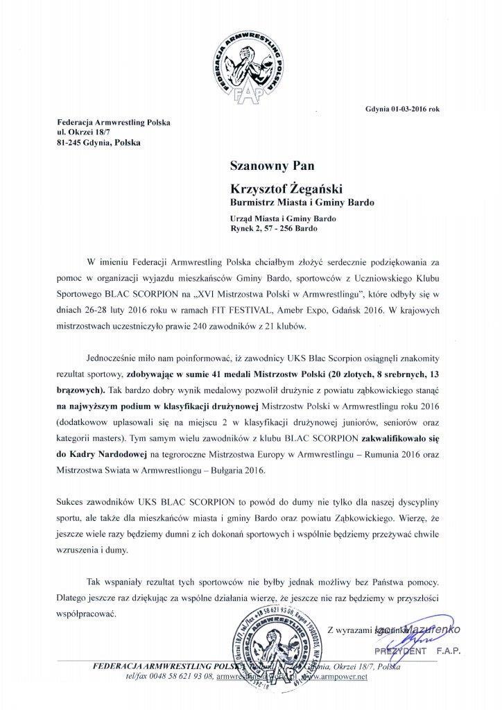 Podziękowania dla Burmistrza Barda od Federacji Armwrestling Polska