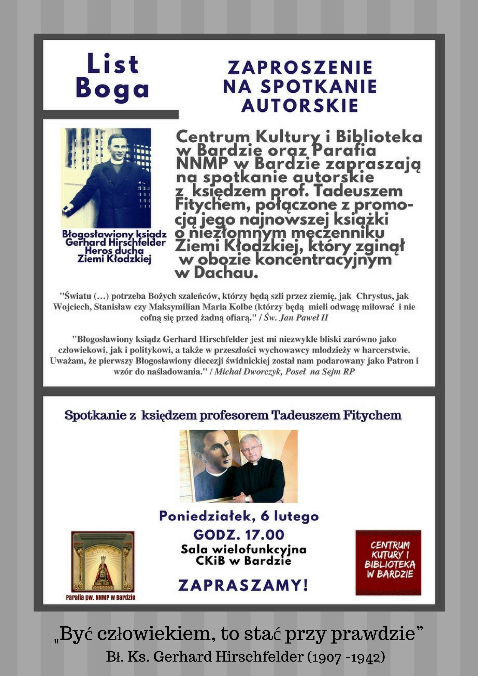 Plakat o spotkaniu z ks. Fitychem na stronę