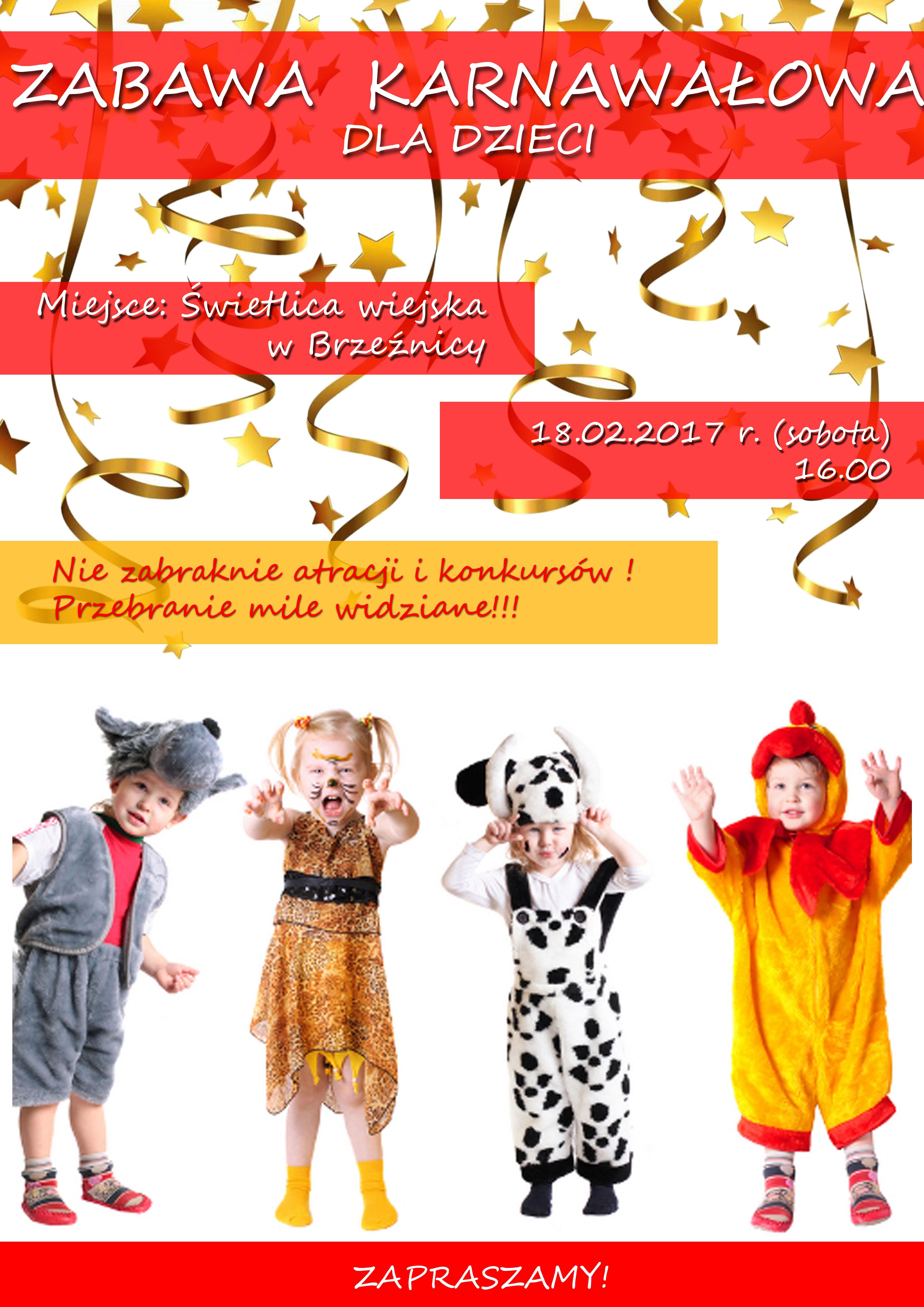 Plakat zabawa karnawałowa w Brzeźnicy