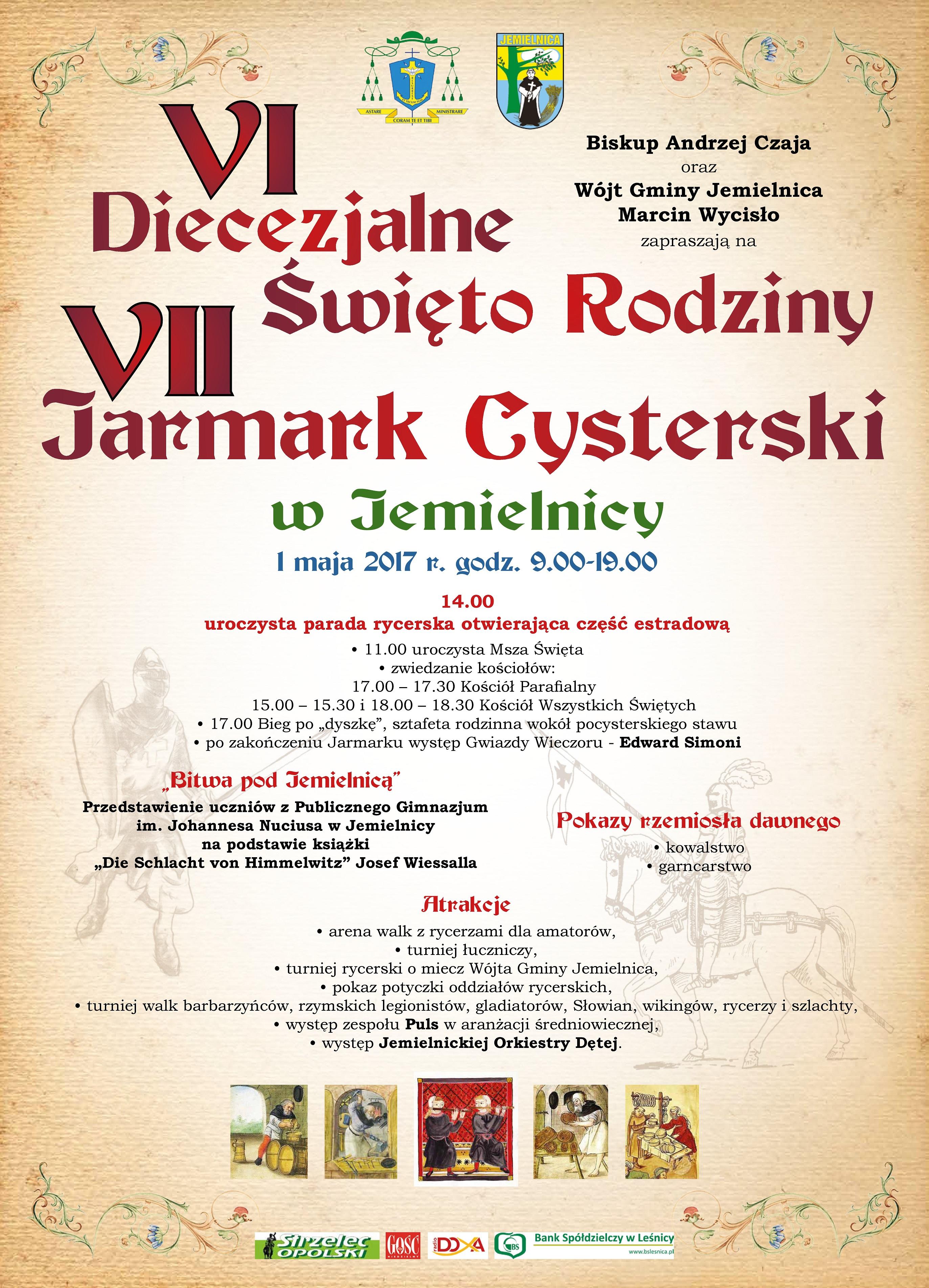 Zaproszenie na VII Jarmark Cysterski w Jemielnicy