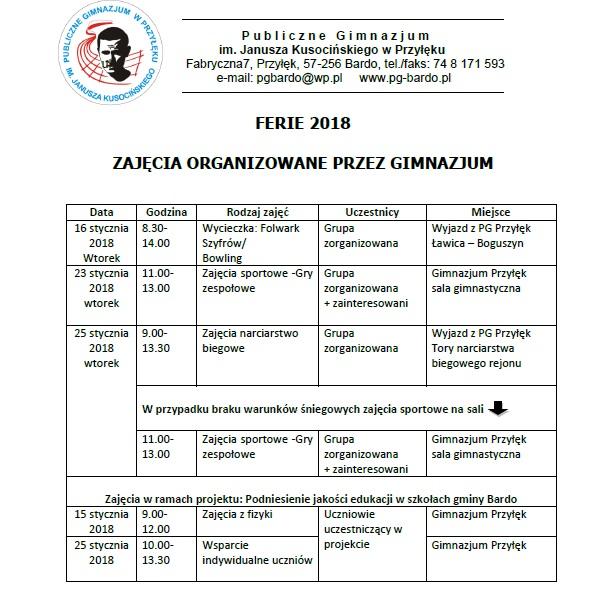 Zajęcia w Gimnazjum na ferie 2018